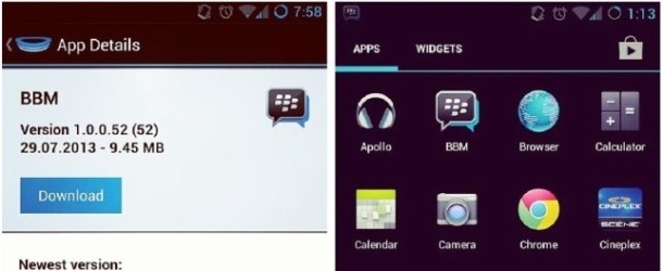 Blackberry Messenger ya en Beta para Android